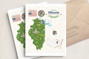 Illinois travel vector postcard