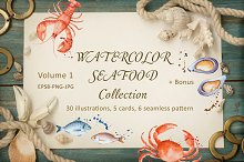 Watercolor seafood collection.