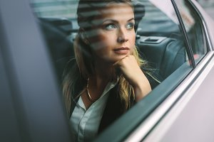 Female business executive travelling