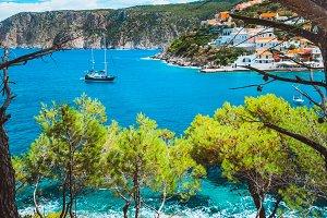 Beautiful sailing yacht near