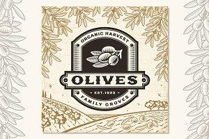 Retro Olives Label On Landscape