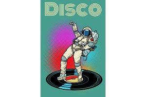 Disco. Woman astronaut dancing