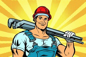 pop art plumber worker with