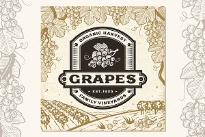 Retro Grapes Label On Landscape