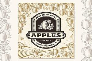 Retro Apples Label On Landscape