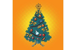 pop art Christmas tree with