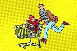 dad and son are on sale. shopping