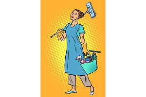 woman cleaner profession
