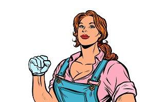 woman muscular strong worker