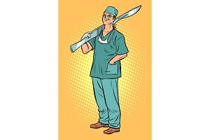 male surgeon with scalpel