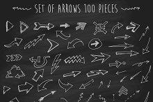 Set of arrows on chalkboard