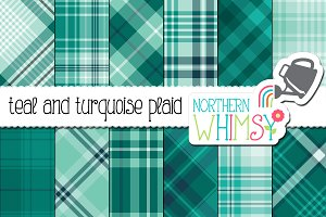 Teal and Turquoise Plaid Patterns