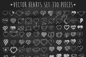 Set of hearts on chalkboard