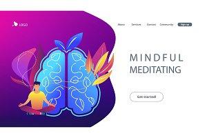 Mindful meditating concept landing