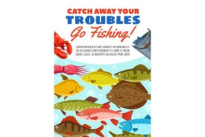 Fishing catch vector poster