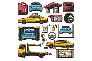 Car repair and service station icons