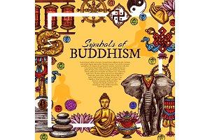 Buddhism religion symbols poster