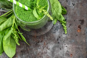 Healthy smoothy. Fresh green spinach