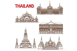 Bangkok buildings line icons