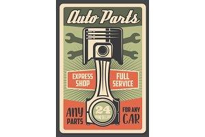 Car engine service retro poster