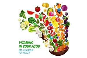 Rainbow color diet vitamin food