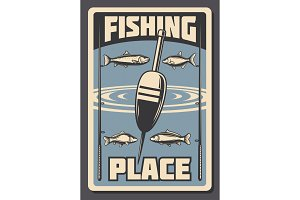 Sea fishing vector retro poster