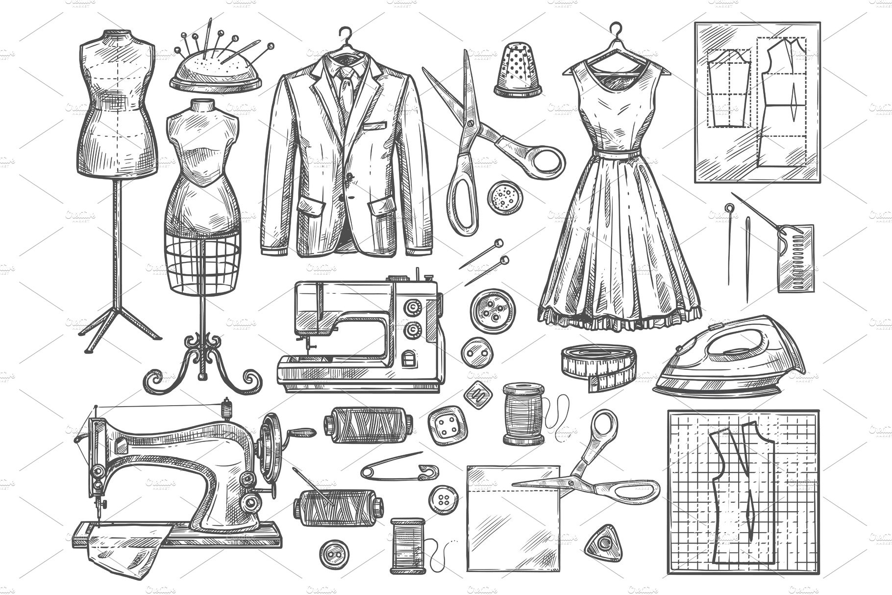 Tailoring And Dressmaking Sketch Pre Designed Vector Graphics Creative Market
