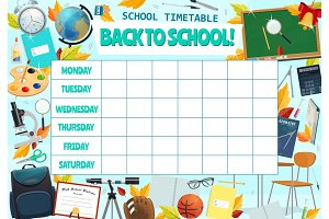 School lesson weekly timetable