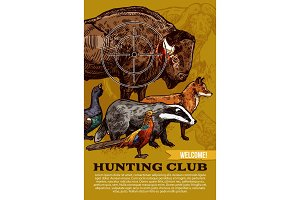 Hunting club, wild animals and birds
