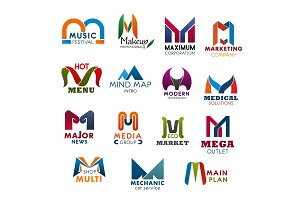 Letter M icons for business