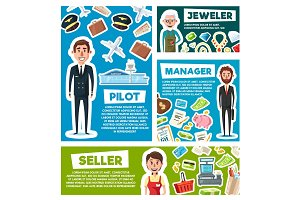 Pilot, seller or manager and jeweler