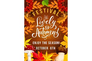 Autumn festival poster with foliage