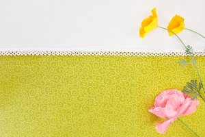 Wild Flowers on Textile Background
