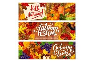 Autumn festival harvest banners