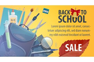 Back to school store sale poster