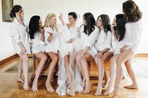 Charming bride and bridesmaids