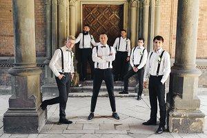 Groom and groomsmen in black trouser