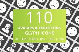 110 Avatars & Emoticons Glyph Icons