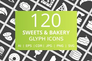 120 Sweets & Bakery Glyph Icons