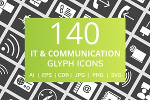140 IT & Communication Glyph Icons