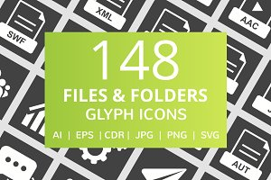 148 Files & Folders Glyph Icons
