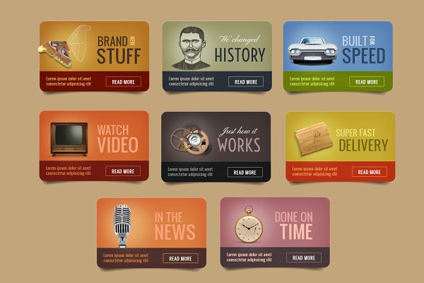 Vintage Web Boxes with Icons