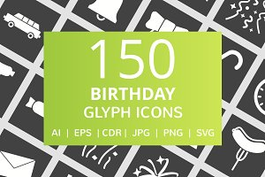 150 Birthday Glyph Inverted Icons