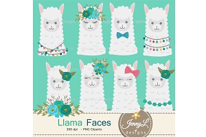 Llama Alpaca Faces Head Clipart