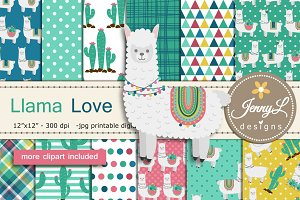 Llama Alpaca Digital Papers Clipart