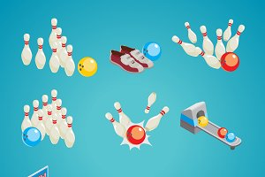 Isometric Bowling Game Elements Set