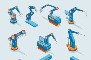 Isometric Industrial Automation Set
