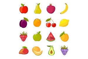 fruits cartoon set. fresh healthy
