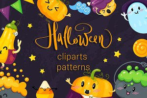 Happy Halloween. Cliparts, patterns