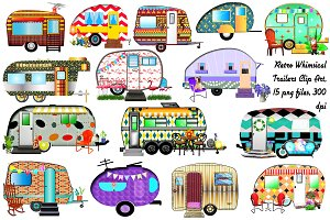 Retro Vintage Trailers Clip Art